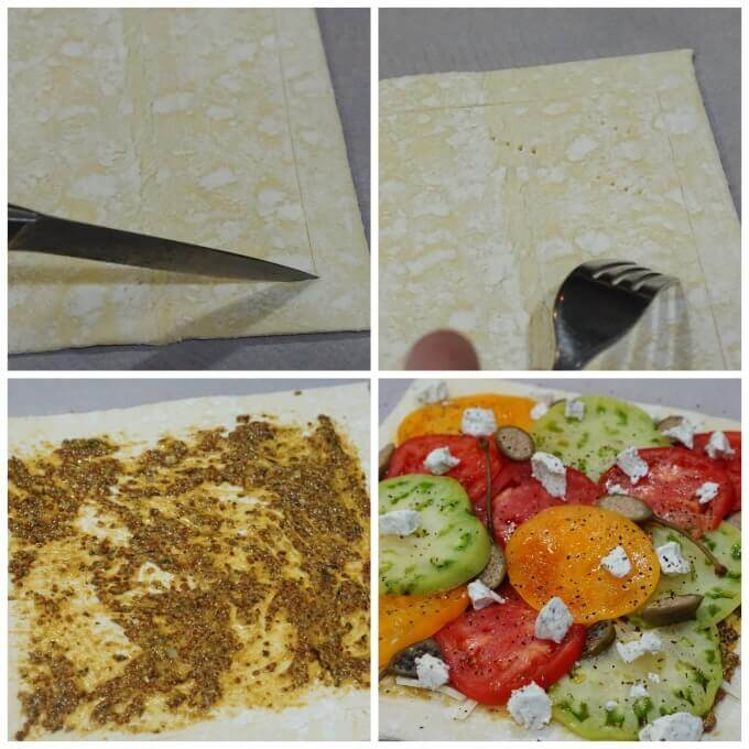 Step-by-step photos to assemble a tomato tart. Starting by scoring a frame around the pastry, then pricking the inside with a fork. Slather the framed area with mustard and pesto, then pile on the tomatoes and cheese.