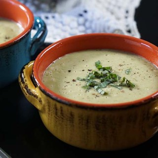 Bowls of cream of zucchini soup