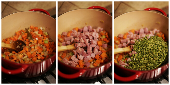 Three pictures showing step-by-step directions to cook the soup.