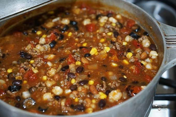 Best taco soup in pot on stove.
