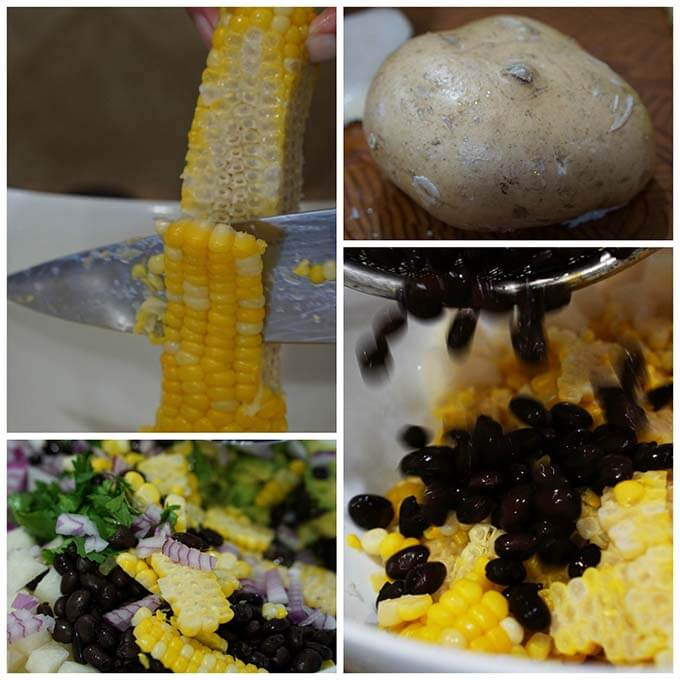 Step by step directions to make Black Bean Avocado Corn Salad - corn being sliced off the cob. Jicama, rinsed black beans being poured into a bowl of corn.