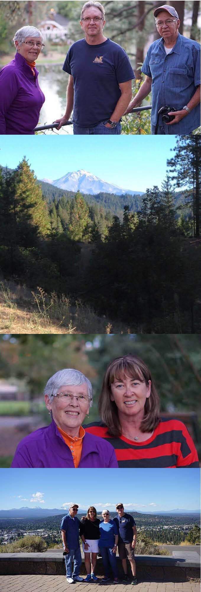 Collage of family photos and a picture of Mount Shasta