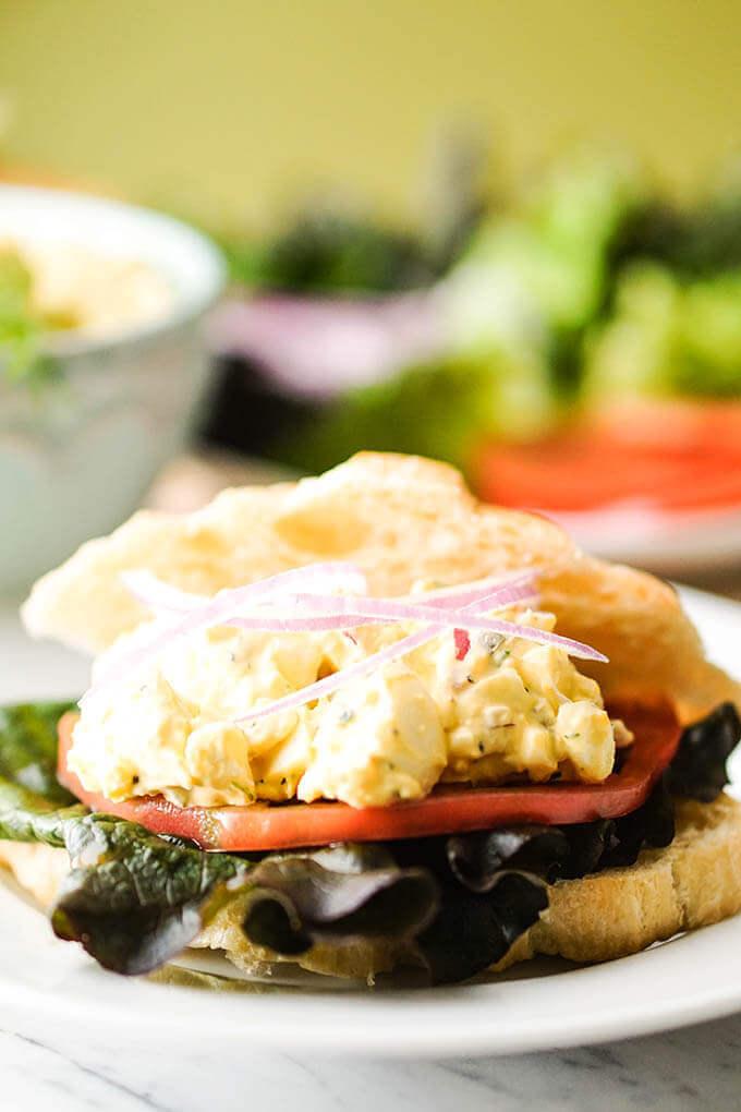 Best ever egg salad sandwich on croissant.
