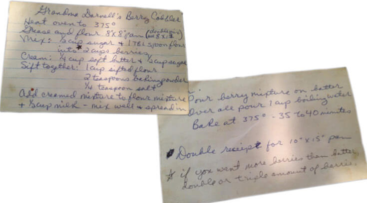 An old recipe card with Grandma Darnell's handwritten cobbler recipe