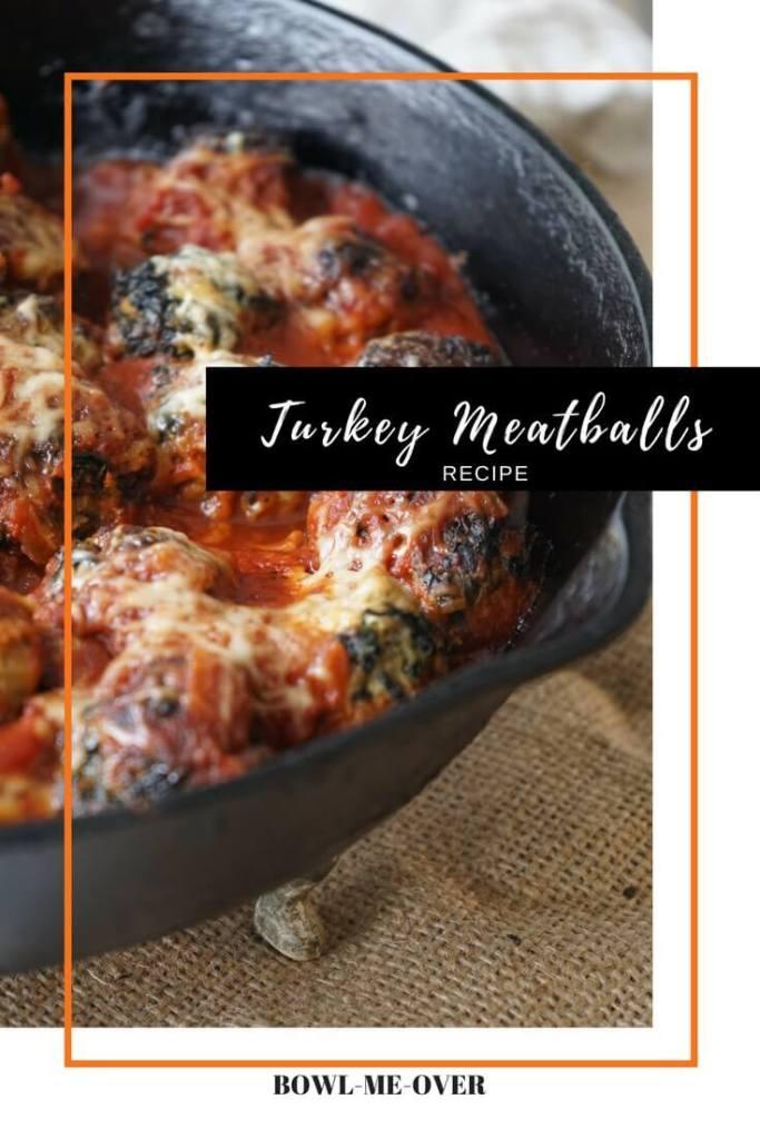 Easy Turkey Meatball Recipe in cast iron skillet