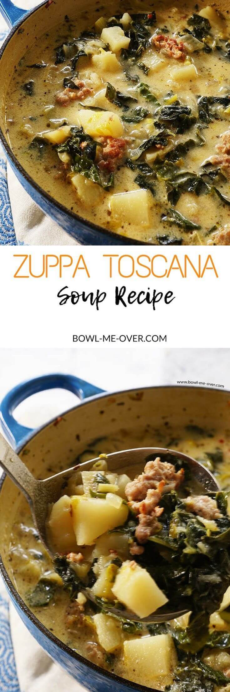 You don't have to go out to your favorite Italian Restaurant to enjoy restaurant style soup at home! Zuppa Toscana Soup is a quick and easy soup - delicious! #ZuppaToscanaSoup #BowlMeOver