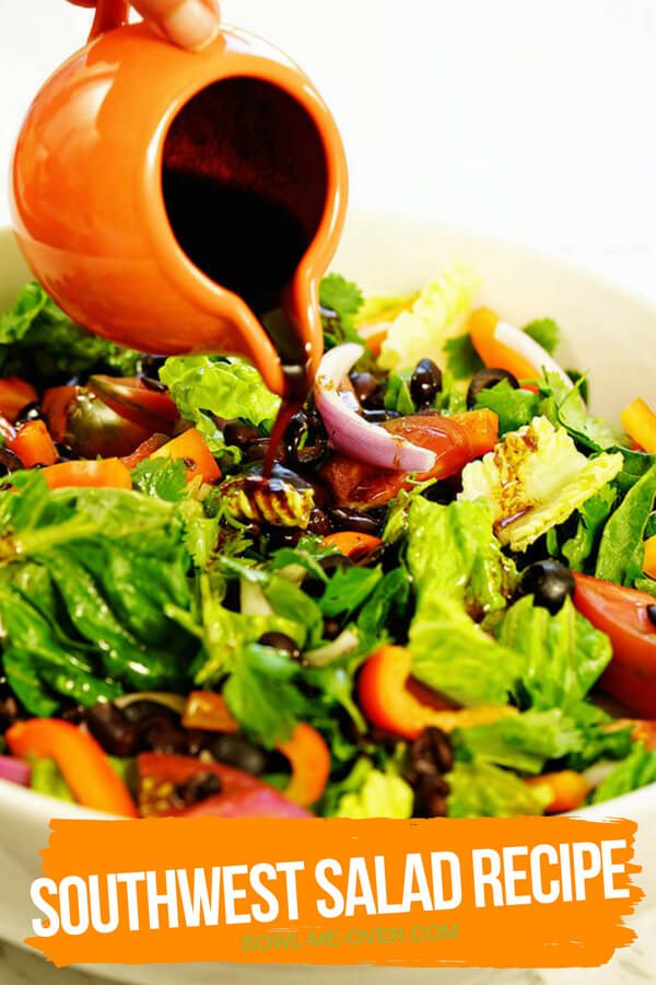Easy Southwest Salad recipe with bright crunchy vegetables and fresh homemade salad dressing.