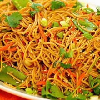 A platter of teriyaki noodles.
