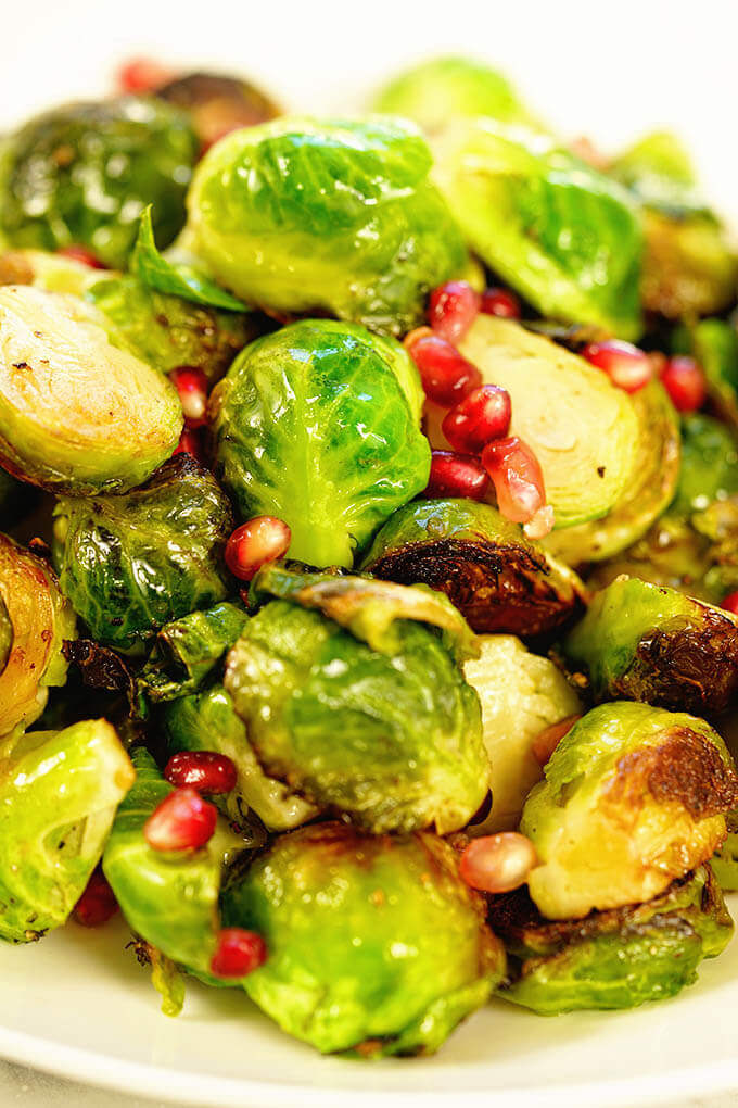 sautéed brussel sprout recipe in a white bowl