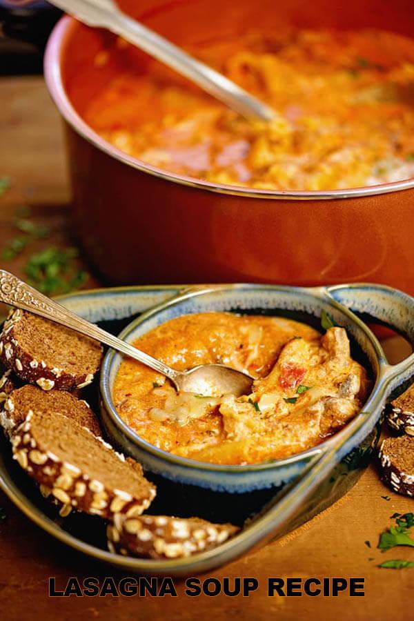 Lasagna soup recipe in a copper pot and a bowl of lasagna soup