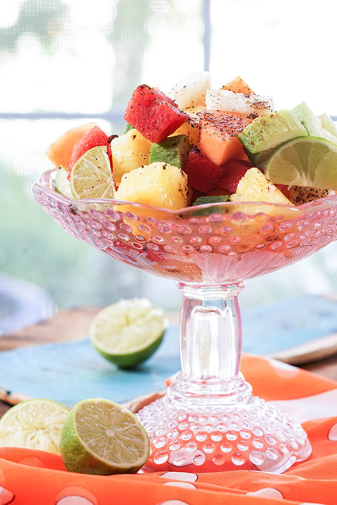 Mexican Fruit Cocktail in Pink glass bowl.