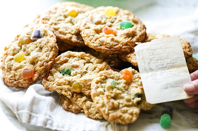 Gumdrop Oatmeal Cookies on platter with recipe
