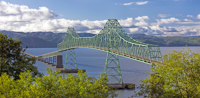Astoria Oregon Coast, Astoria Bridge spanning the Columbia River