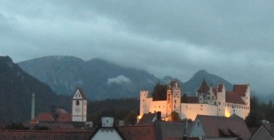 Fussen castle at night.