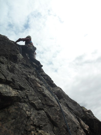 Rod past the crux on Evening Wall.