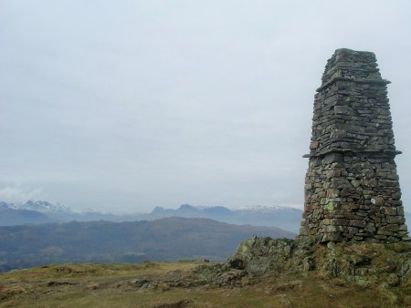Distant Bowfell and Langdale Pikes.