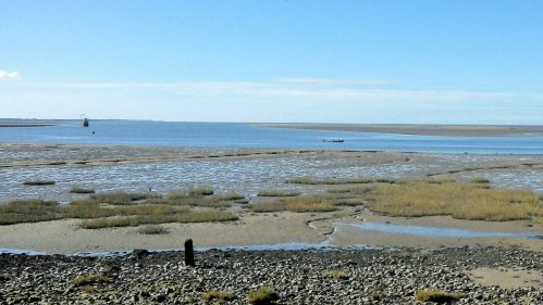 Glasson estuary with the damaged Plover Scar light.