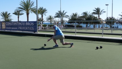 Kerry Morris in the final of the Zenon Transfer Mens Singles