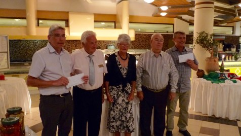 From left: Phil Owen, Trevor and Ann Allman (Athena Beach Hotel Bowling Managers), Ces Hope and Frank Jolly