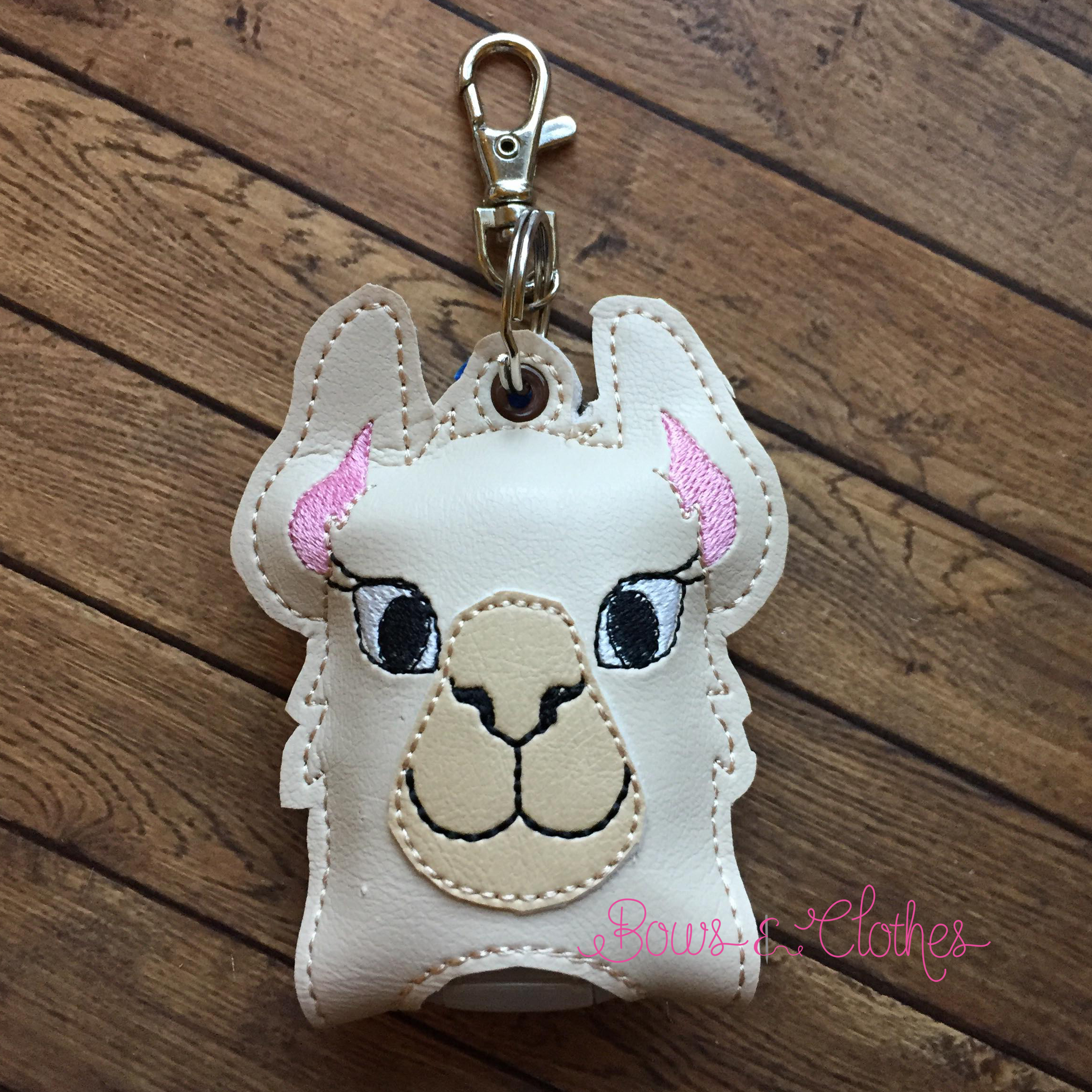 Llama Alpaca Open Tab Hand Sanitizer Bows And Clothes