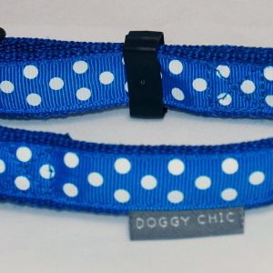 Doggy Chic Blue Polka Dot Adjustable Collar on Blue Webbing with Plastic Hardware