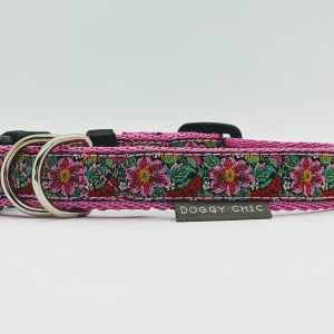 doggy chic cerise flowers dog collar