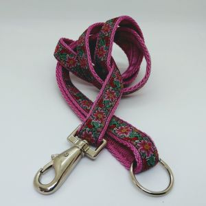 Doggy Chic Wide Flower Cerise Lead on Cerise Webbing with Metal Hardware