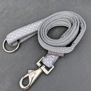 grey polka dot lead for your dog