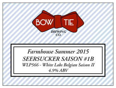 Seersucker Saison 1 2015 Recipe Bow Tie Brewing Company