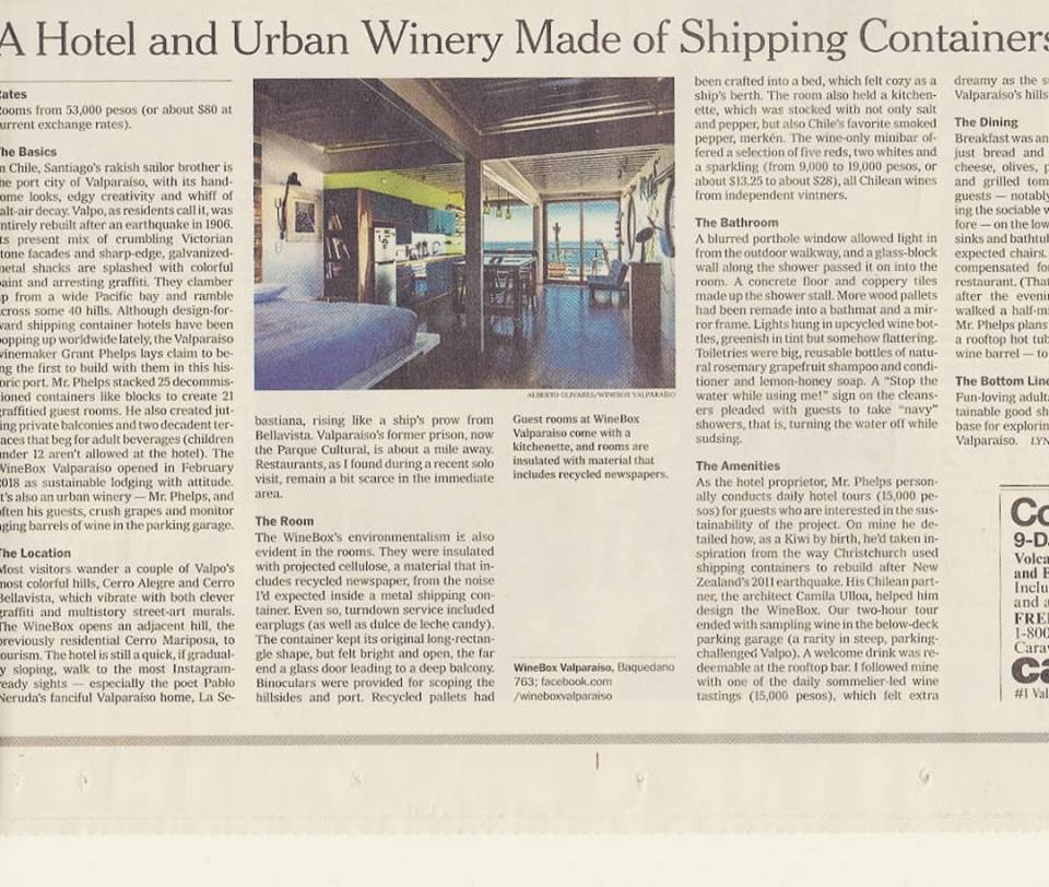 Hotel WineBox Valparaiso @ New York Times