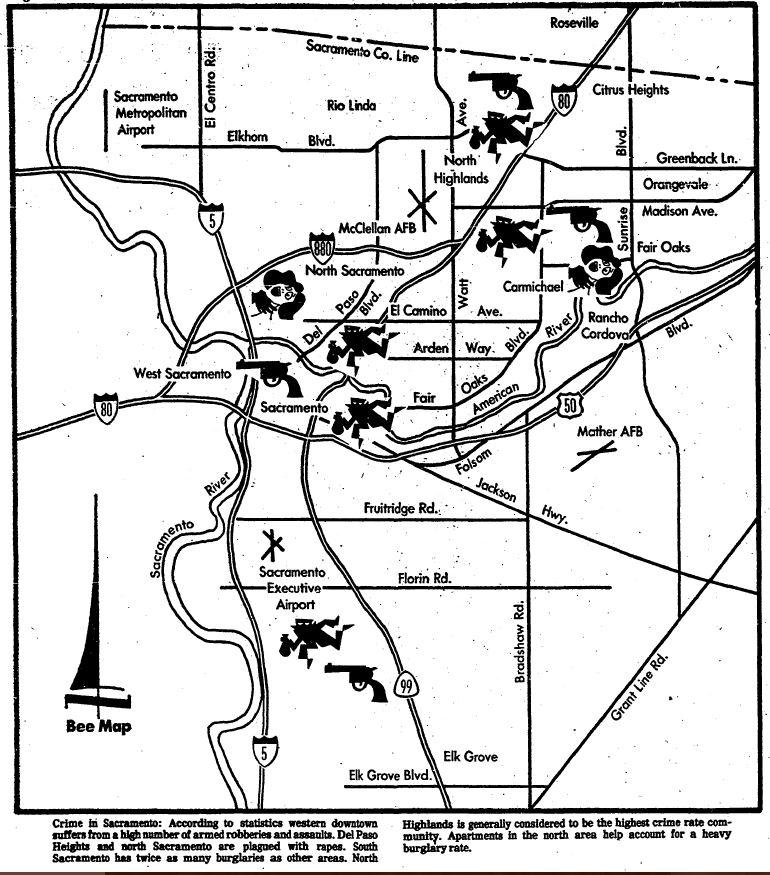 sac bee, 27 feb 77, crime in sac map