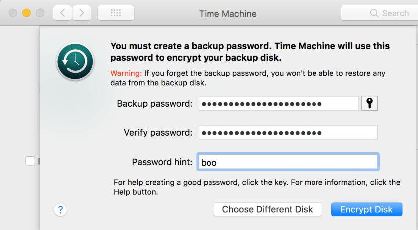 Time Machine encryption password