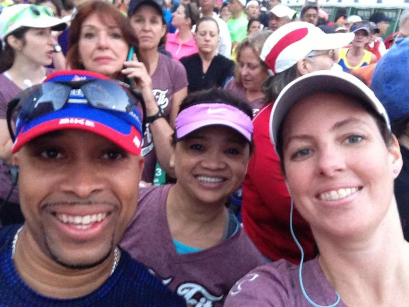 At the start in Corral D with Kevin and Stella running their first half marathons!
