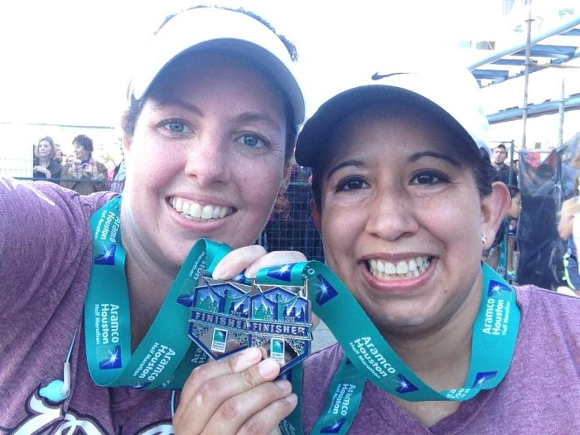 Lora and I showing off our medals.