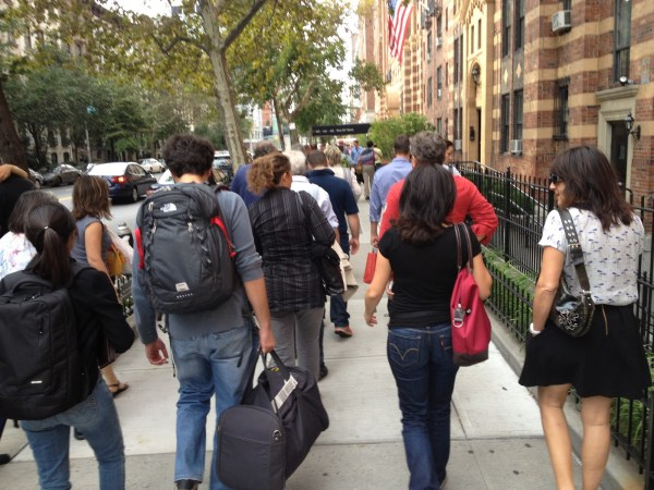 People Blocking Sidewalk