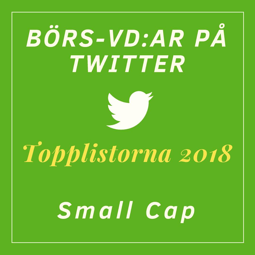 Börs-vd:ar på Twitter, topplistorna 2018: Small Cap