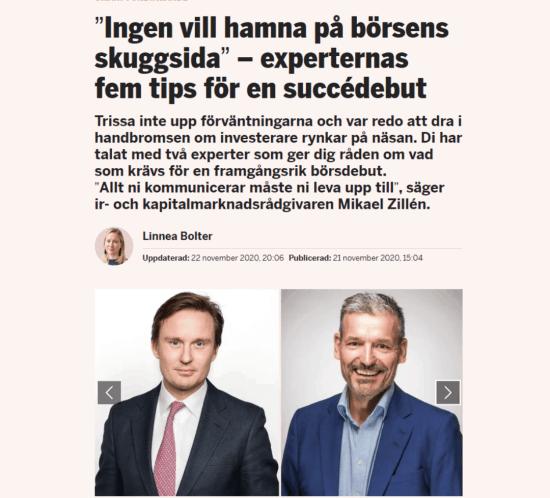 börsnotering, kommunikation, IR, Dagens Industri