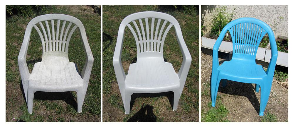 peinture pour PVC sur chaise de jardin étape par étape