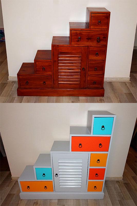 Avant après d'un meuble peint en couleurs