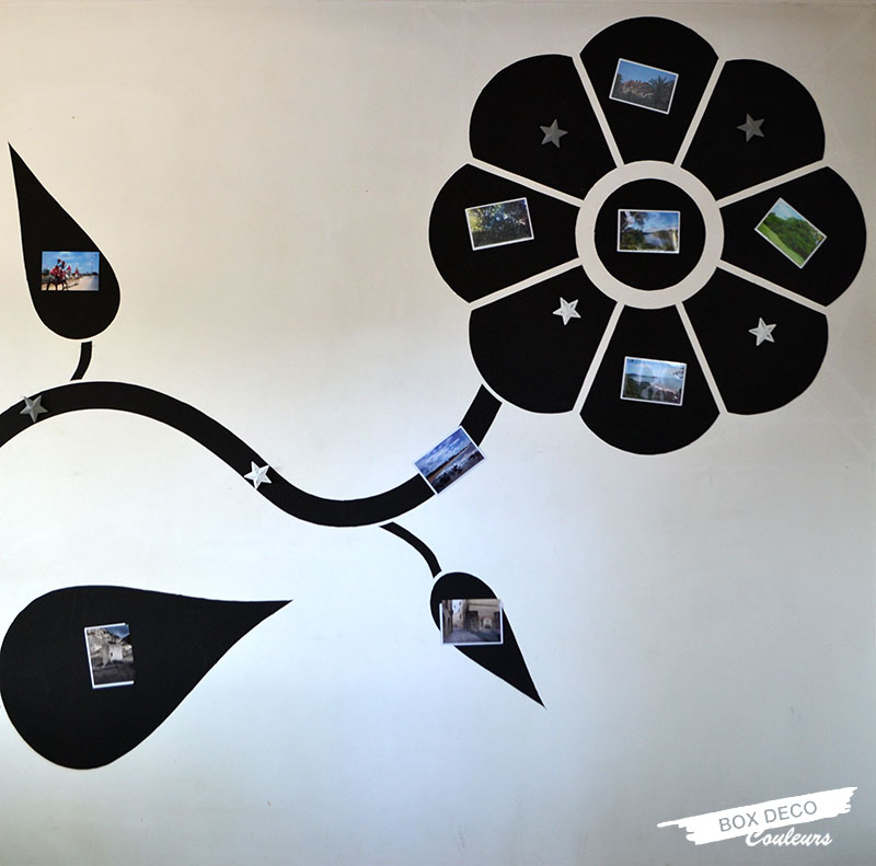 fleur en peinture magnétique sur un mur