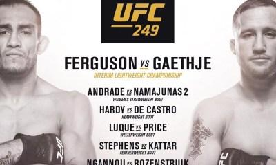 Découvrez la nouvelle Fight Card de l'UFC 249 avec Andrade vs Namajunas 2 en co-main event