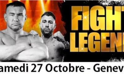FIGHT LEGEND GENEVA - La carte des combats pour samedi 27 octobre