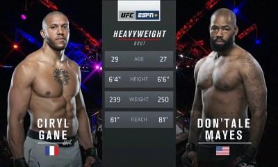 Ciryl GANE vs Don'Tale MAYES - Full Fight Video - Combat UFC