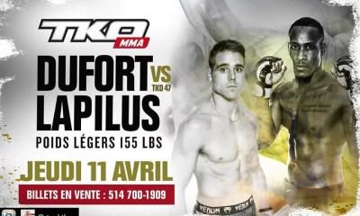 LAPILUS, BERCHEL et BAUDOT combattront à Montréal pour le TKO 47