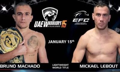 UAE - Mickael Lebout affrontera Bruno Machado pour la ceinture des lightweights