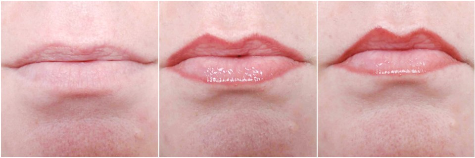 Close up of my lips before, after lip liner and lip plumper application and after 10 minutes