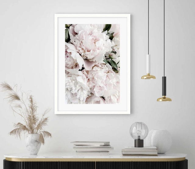White Framed Pink Floral Art Print 50x70cm From Abstract House