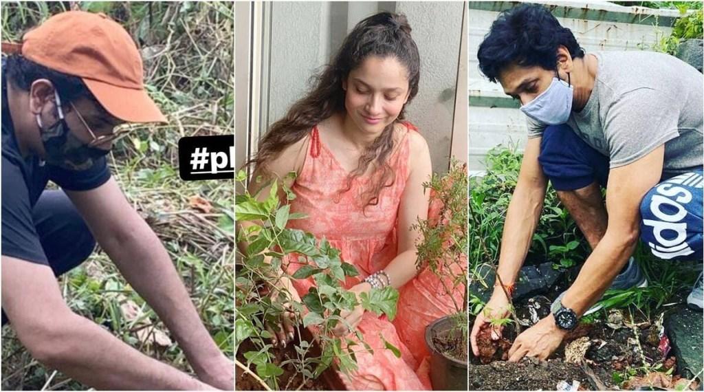 PlantForSSR: Ankita Lokhande, Mukesh Chhabra, Mahesh Shetty Plant Saplings