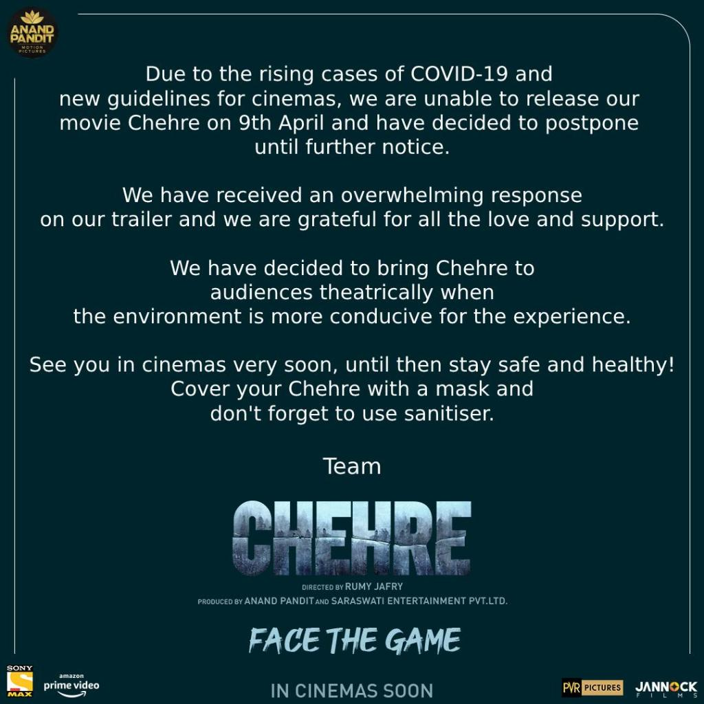 Amitabh Bachchan & Emraan Hashmi's Much Anticipated Mystery-Thriller Chehre Gets Postponed Amidst Rising COVID-19 Cases