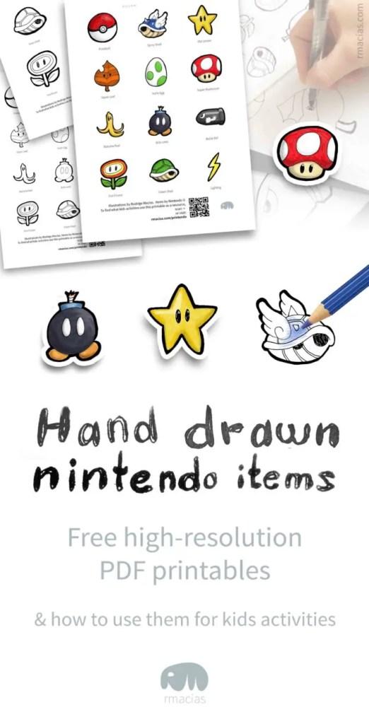 Hand Drawn Nintendo Items Free Printables Box Of Ideas